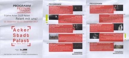 """Programmheft Festival """"5 Jahre Acker Stadt Palast - Tanzen vor Weihnachten"""", Dec. 2017"""