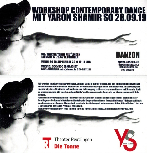 Workshop Contemporary Dance, Danzon Tübingen und Theater Reutlingen die Tonne, 28.9.2019